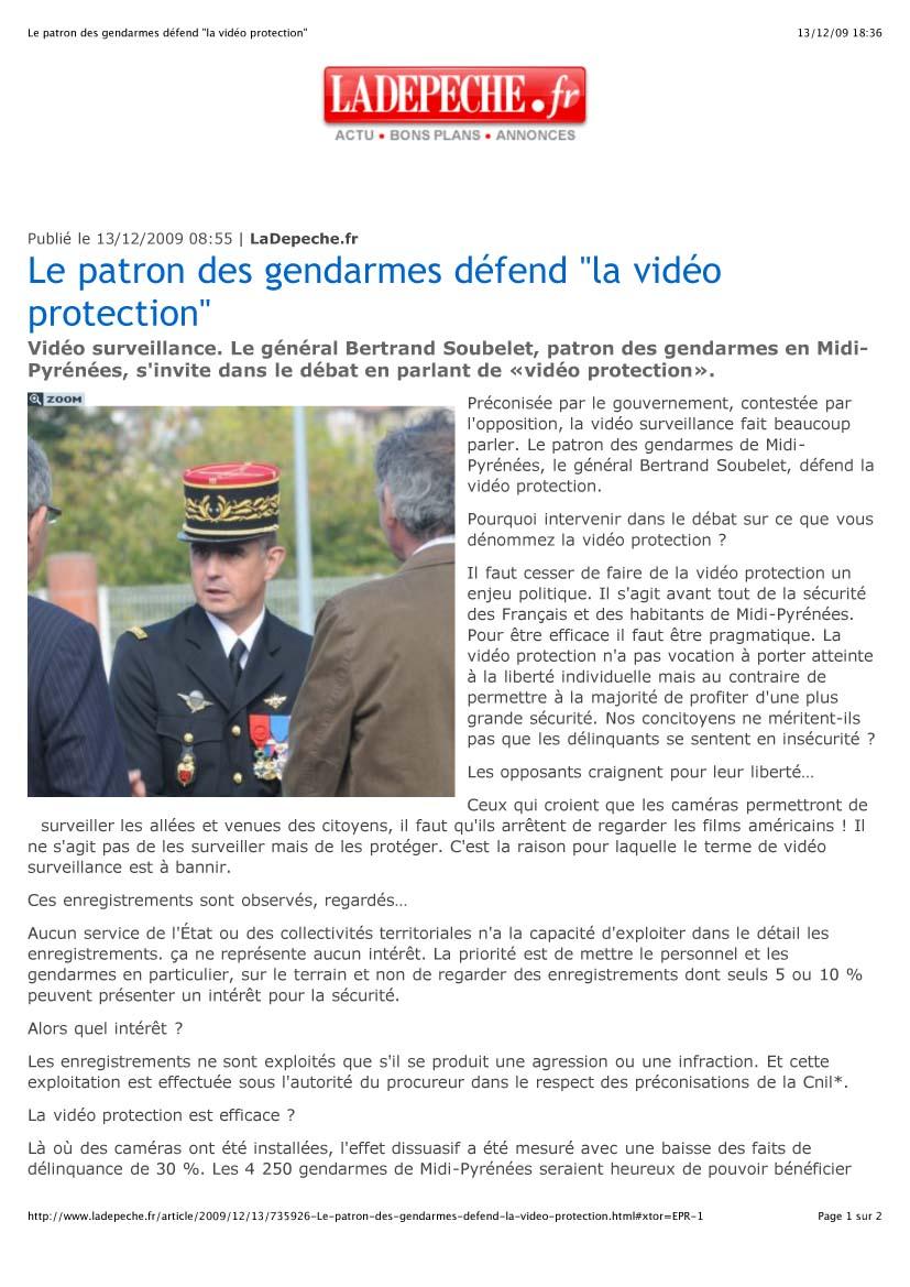 """Le patron des gendarmes défend """"la vidéo protection""""1"""