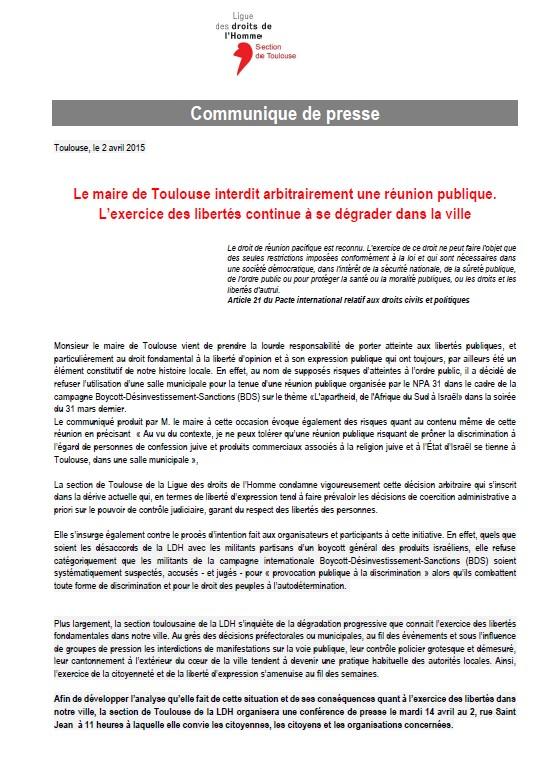 CP LDH Toulouse - Le maire de Toulouse interdit arbitrairement une réunion publique.
