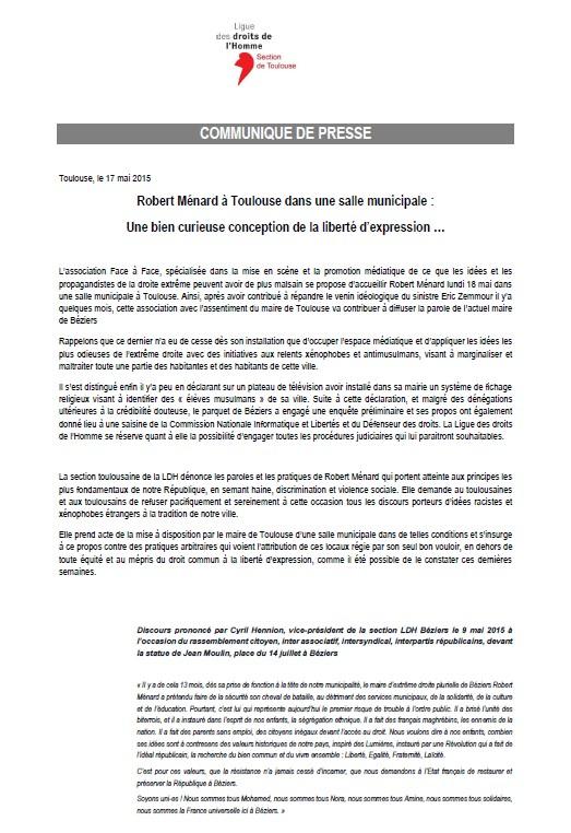 LDH Toulouse - Communiqué de presse - Robert Ménard à Toulouse dans une salle municipale, une bien curieuse conception de la liberté d'expression …