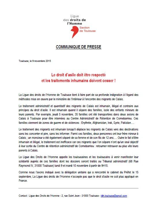 LDH Toulouse - CP - Le droit d'asile doit être respecté  - 09-11-2015