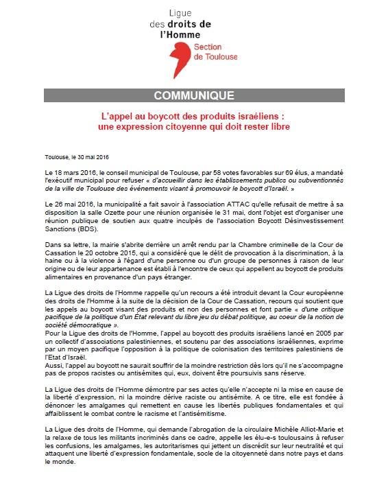 CP LDH Toulouse - L'appel au boycott des produits israéliens