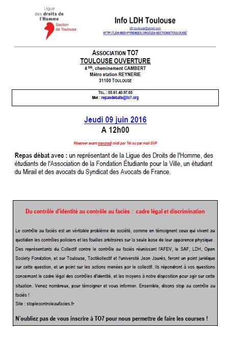 LDH Toulouse- TO7 - Du contrôle d'identité au contrôle au faciès - cadre légal et discrimination -09.06.2016
