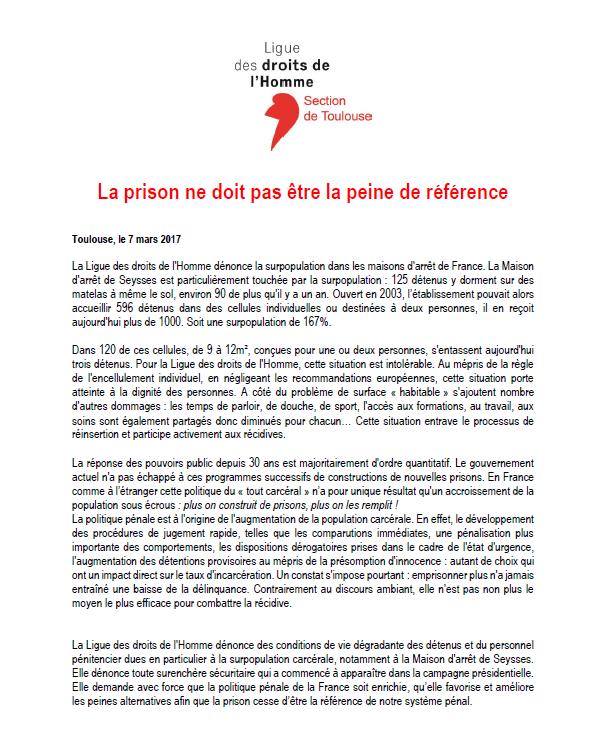 LDH Toulouse - La prison ne doit pas être la peine de référence - 07-03-17