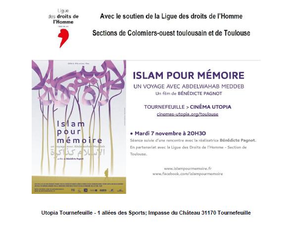 Soutien LDH Toulouse - Colomiers - Film débat Islam pour mémoire