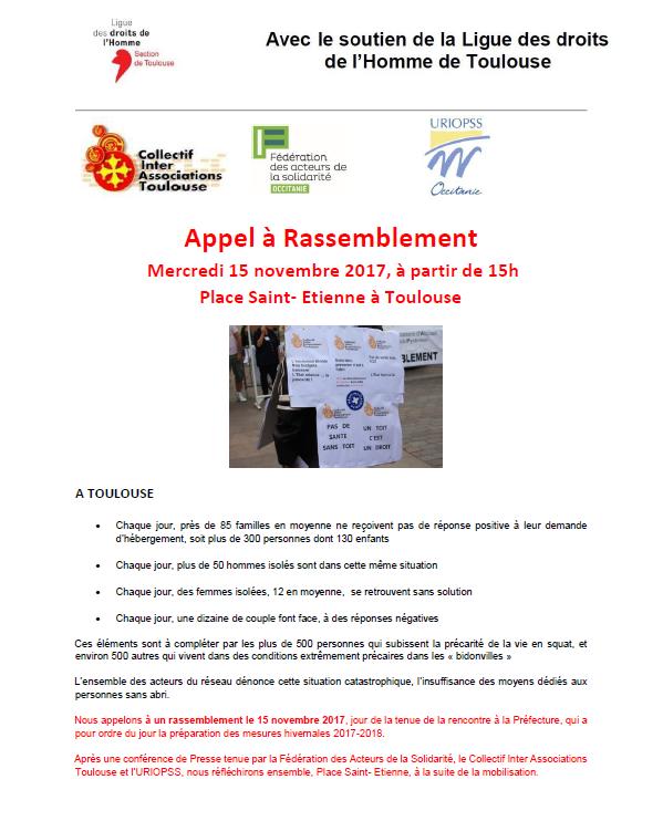 Soutien LDH Toulouse - Contre l'exclusion et la précarité - Rassemblement Mercredi 15 novembre à partir de 15h - Place Saint Etienne à Toulouse