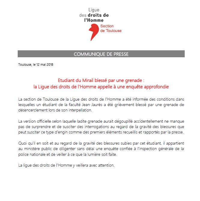 CP - Etudiant du Mirail blessé par une grenade - 12-05-2018